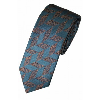 Teal Blue Lateral Woven Silk Slim Tie #S007/4