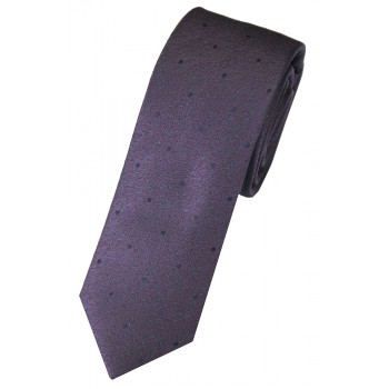 Purple Flecked with Navy Spots Woven Silk Slim Tie and Hankie Set