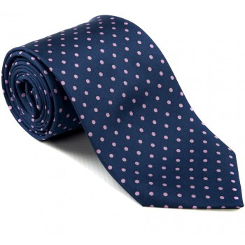 Navy with Pink Polka Dot Silk Tie with Matching Pocket Square