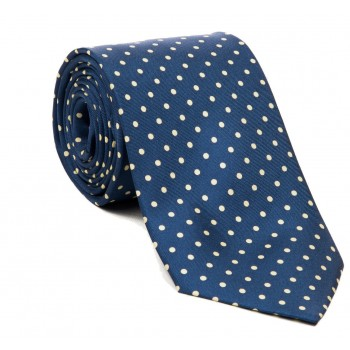Navy with Yellow Polka Dot Silk Tie with Matching Pocket Square
