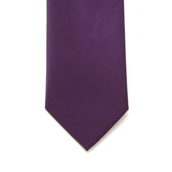 Purple Satin Tie with Matching Pocket Square