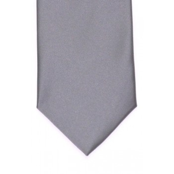 Grey Satin Tie with Matching Pocket Square