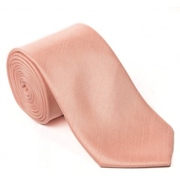 Peach Shantung Tie with Matching Pocket Hankie