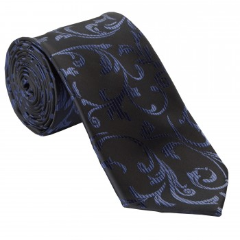 Navy on Black Swirl Leaf Wedding Tie and Hankie Set