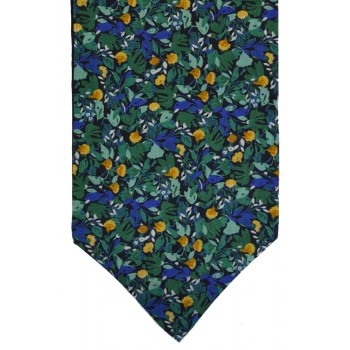 Green Flower Ink Self Tie Cotton Cravat #WCR4019/3