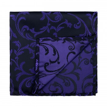 Purple on Black Swirl Leaf Pocket Square #AB-TPH1000/14