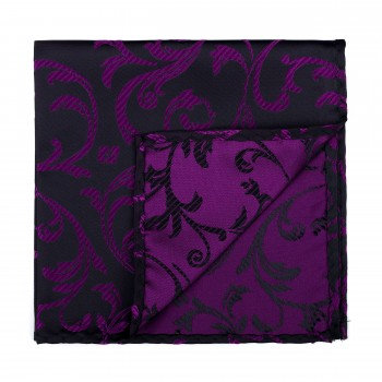 Plum on Black Swirl Leaf Pocket Square #AB-TPH1000/16