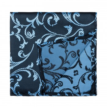 Morning Blue on Black Swirl Leaf Pocket Square #AB-TPH1000/17