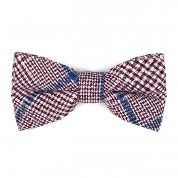 Burgundy Check Bow Tie #AB-BB1007/3