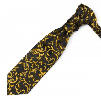 Gold on Black Swirl Leaf Cravat #AB-WCR1000/15