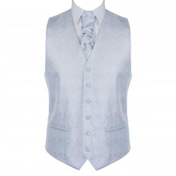 Glacier Grey Floral Waistcoat Abel & Burke