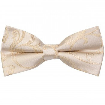 Cream Swirl Leaf Wedding Bow Tie #AB-BB1000/11