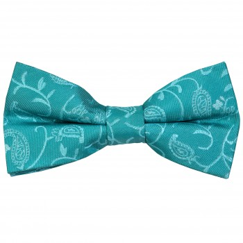Teal Budding Paisley Wedding Bow Tie #AB-BB1003/3