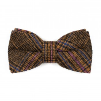 Brown Overcheck Wool Bow Tie