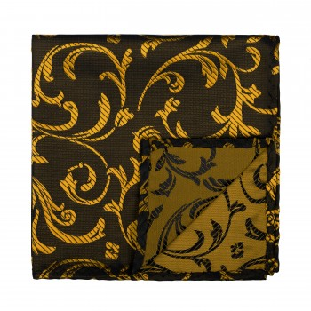 Gold on Black Swirl Leaf Pocket Square #AB-TPH1000/15