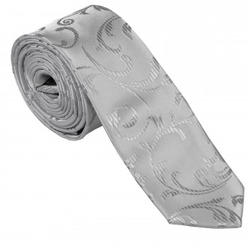 Silver Swirl Leaf Slim Wedding Tie #AB-C1000/10