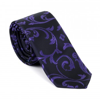 Purple on Black Swirl Leaf Slim Tie #AB-C1000/14