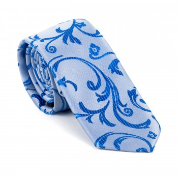 Blue Swirl Leaf Slim Tie #AB-C1000/18