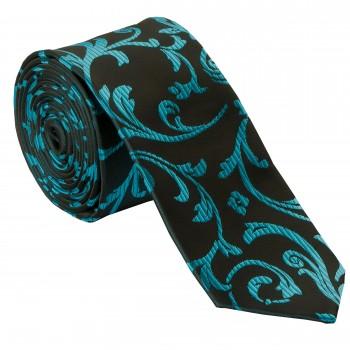 Teal on Black Swirl Leaf Slim Wedding Tie #AB-C1000/2
