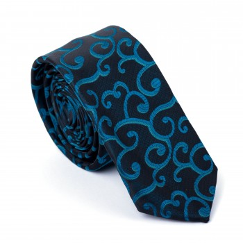 Teal on Black Royal Swirl Slim Tie #AB-C1001/12