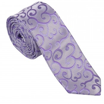 Lilac Royal Swirl Slim Wedding Tie #AB-C1001/1