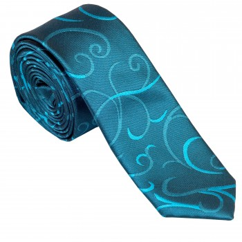 Teal Modern Scroll Slim Wedding Tie #AB-C1002/5
