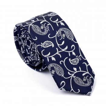 Moonlight Navy Budding Paisley Slim Tie #AB-C1003/7