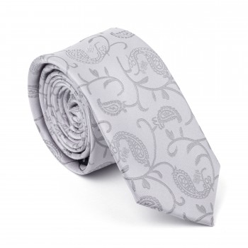 Silver Budding Paisley Slim Tie #AB-C1003/8