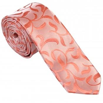 Coral Vintage Vine Slim Wedding Tie #AB-C1004/2