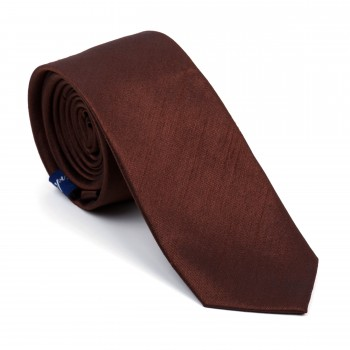 Chocolate Brown Shantung Slim Tie #AB-C1005/19