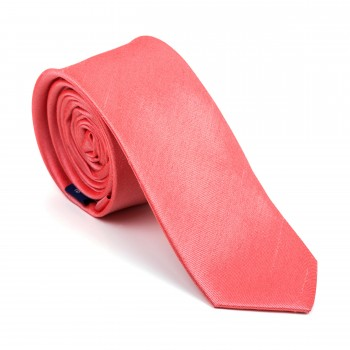 Burnt Coral Shantung Slim Tie #AB-C1005/21