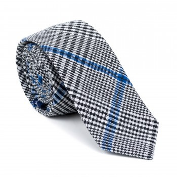 Licorice Black Check Slim Tie #AB-C1007/1