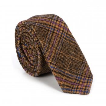 Brown Overcheck Wool Slim Tie
