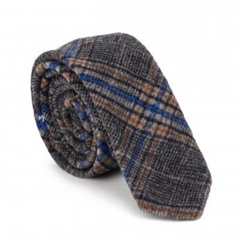 Grey Overcheck Wool Slim Tie