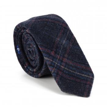 Navy Blue Overcheck Wool Slim Tie