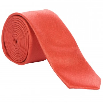 Coral Slim Shantung Wedding Tie #C1867A/5