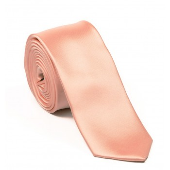 Peach Slim Satin Tie #C1885/6