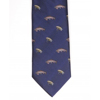 Blue Fly Fishing Themed Tie ((F9002/1)) #LAST STOCK