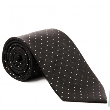Black with White Polka Dot Silk Tie #S5033/1