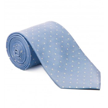 Baby Blue with White Polka Dot Silk Tie #S5034/1 ---DISCONTINUED, LAST STOCK!---