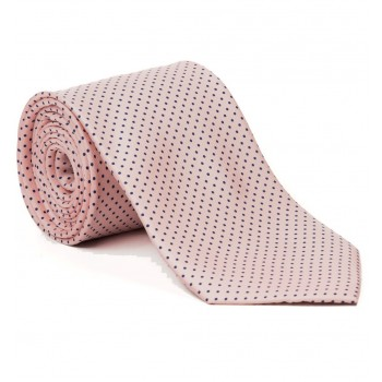 Pink with Navy Polka Dot Silk Tie #S5035/3