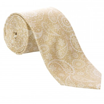 Beige Floral and Paisley Silk Tie #S5056/5 ---DISCONTINUED, LAST STOCK!---