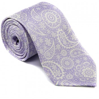 Lilac Floral and Paisley Silk Tie #S5056/6 ---DISCONTINUED, LAST STOCK!---