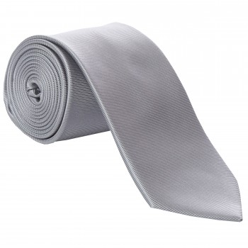 Grey Fine Twill Tie with Matching Pocket Square