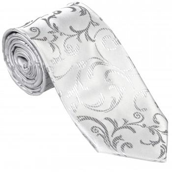 Abel & Burke - Silver Swirl Leaf Wedding Tie