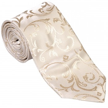Cream Swirl Leaf Wedding Tie #AB-T1000/11