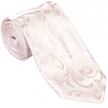 Ivory Bridal Blush Swirl Leaf Slim Wedding Tie #AB-C1000/13