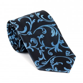 Morning Blue on Black Swirl Leaf Tie #AB-T1000/17