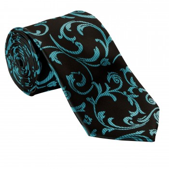 Abel & Burke - Teal on Black Swirl Leaf Wedding Tie