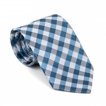 Blue Neat Check Tie